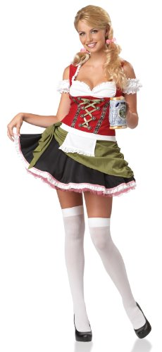 California Costumes Bavarian Bar Maid Set, Red/Olive, Small