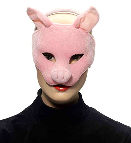 Adult Deluxe Pig Mask (Forum Novelties Deluxe Plush Pink Pig Animal Half Mask)