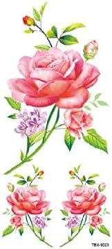 JKABCD Tatuaje de flores temporal, tatuajes temporales ...