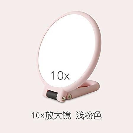 Yiwa Miroir de maquillage Portable Hand-hold double face grossissant 10fois de Noël Cadeau d'anniversaire