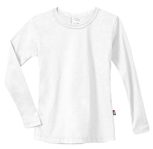 City Threads Girls Long Sleeve Tee Sensory Friendly for Sensitive Skin SPD - School Base Layer Fall and Winter, White, -