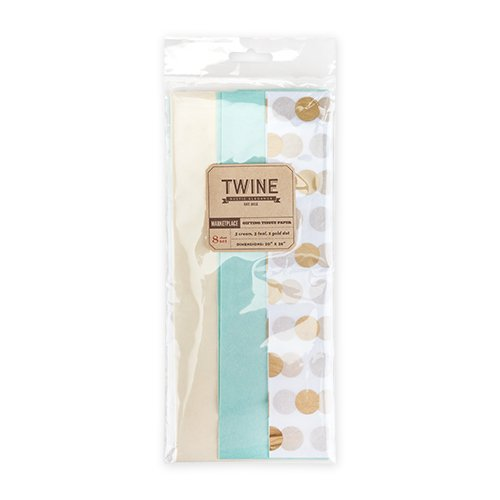 (Cakewalk Marketplace: Gold Dot Teal & Cream Tissue Paper, Assorted)