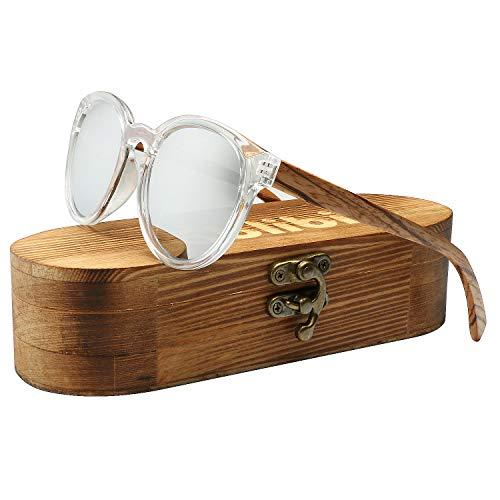 ABLIBI Womens Polarized Wood Sunglasses Retro Round Wood Shades in Original Box (Zebrawood, Silver) (1 ()