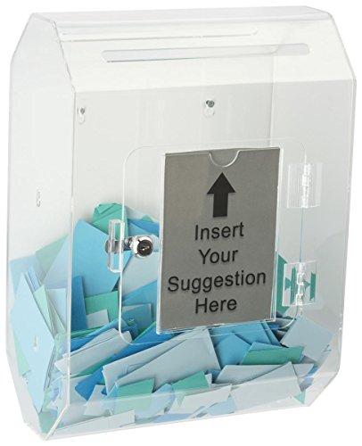 Displays2go Acrylic Ballot Box, Sign Pocket, Wall Mount, 2 Insert Slots, Locking, Clear (BTLBCL) by Displays2go