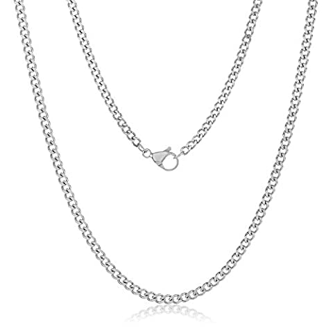 Durable Stainless Steel 3mm Cuban Curb Link Chain Necklace, 24