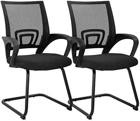 Office Guest Chair Reception Chairs with Lumbar Support Armrest Mesh Cushion Seat Conference Chairs Meeting Chair Set of 2 Home Office Chair Black