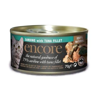 Encore Cat Tin Easy to Digest 100% Natural Wet Cat Food for Stronger Muscle, Clearer Vision, Healthier Skin and Glossy Coat Sardine with Tuna Fillet, 48 x 70g