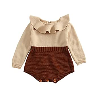 Weixinbuy Toddler Baby Girl Doll Collar Bodysuit Romper Jumpsuit Clothes Outfits (3 Months, Brown)