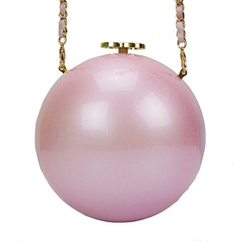 QZUnique Women's Acrylic Mini Round Ball Shape Purse Evening Bag Clutch Handbag Pink