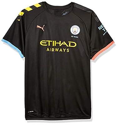 PUMA Men's Standard Manchester City MCFC Shirt Replica with Sponsor Logo, Away Black-Georgia Peach, S