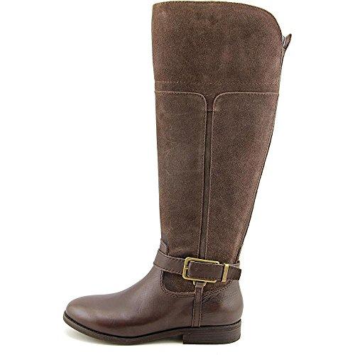Marc Fisher Mujeres Aysha Wide Calf Leather Almond Toe Rodilla Alta Moda Botas Med.brown Wc