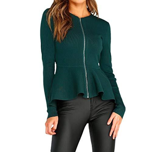 Green para y redondo volantes Invierno manga larga cuello ZFFde frontal mujer cremallera Chaqueta XL de Color con de dobladillo tamaño con wZWFUqY