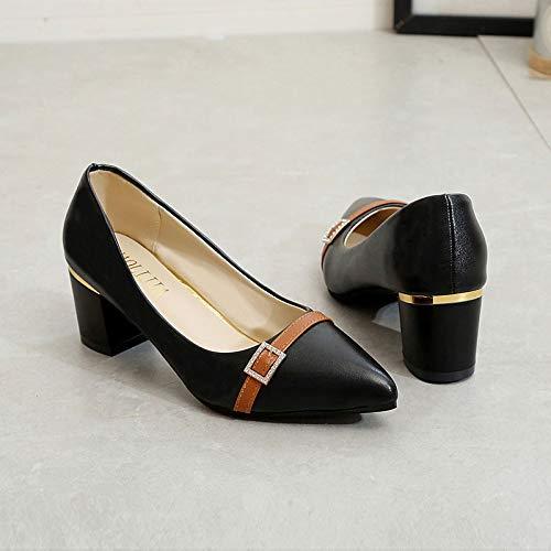 Shoes White Basic Women's Chunky Pointed Heel Pump Beige Black Toe ZHZNVX Polyurethane Heels PU Summer White 1Hwxgqq5nZ