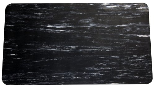 Durable Grand-Stand Vinyl Anti-Fatigue Floor Mat, 2' x 3', Marble Black by Durable Corporation