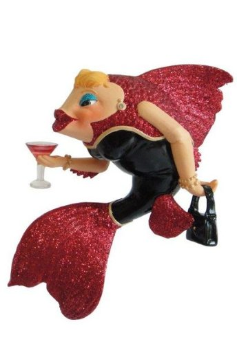 December Diamonds Red Snapper Fish Mermaid Ornament,One Size
