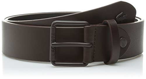 Lacoste Men's Sportswear Leather Belt with Tonal Croc, Brown, 33 (Lacoste Belt Brown)
