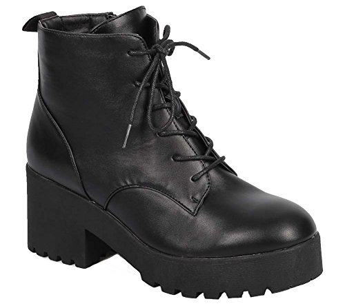 [Lace up Vegan Leather Lug Sole Chunky Heel Women's Combat Boot] (Furry Boots Cheap)