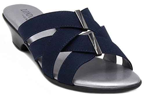 London Fog Womens Neptune Open Toe Heeled Dress Sandals Navy 10 M US