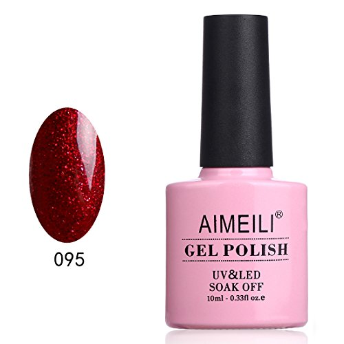 (AIMEILI Soak Off UV LED Gel Nail Polish - Heart Break Red (095) 10ml)