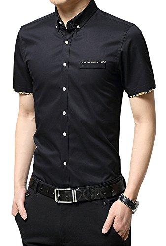 Mens Button Down Shirts FRTCV Causal Cotton Short Sleeve Dress Shirts Black 1730 Tag 2XL/US S
