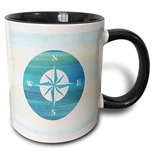 3dRose (mug_152107_4) Aqua Nautical Compass beach theme art - Two Tone Black Mug, 11oz Beach Theme Coffee