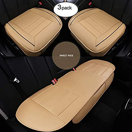 2+1 Front Seat Covers /& Rear Seat Covers Without Backrest HCMAX Car seat Cover Cushion Pad Mat Protector for Auto Supplies for Sedan Hatchback SUV PU Leather