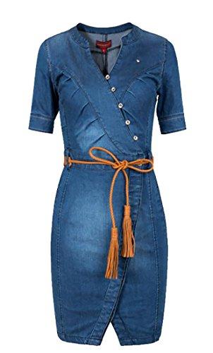 V Jaycargogo Wrap Dresses Neck Midi Denim Belted Women Pencil Denim Button Blue Front fwAwx1aq