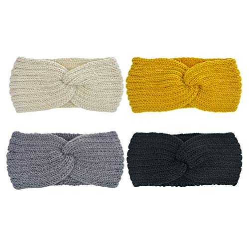Crochet Cross (DRESHOW Crochet Turban Headband for Women Warm Winter Headband Bulky Crocheted Headwrap (4 Pack Cross Crochet))