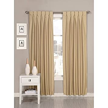 2 piece 84 inch cracked wheat pinch pleat curtains pair panel set beige puckered pintucks