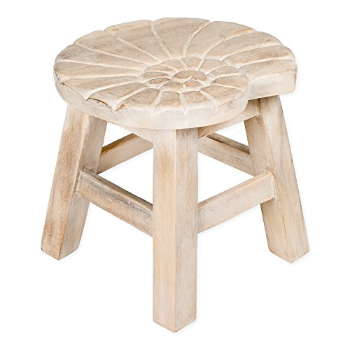 (Nautilus Shell Whitewash Design Hand Carved Acacia Hardwood Decorative Short Stool)