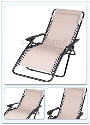 Gravity - Hamaca plegable exterior de jardín tumbona de sol silla reclinable jardín en crema: Amazon.es: Jardín