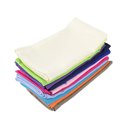 INFEI Soft Solid Color Linen Cotton Dinner Cloth Napkins - Set of 12 (40 x 40 cm) - for Events & Home Use -