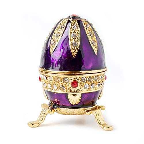 (Apropos Hand-Painted Mini Faberge Egg with Rich Enamel and Sparkling Rhinestones Jewelry Trinket Box (Purple))