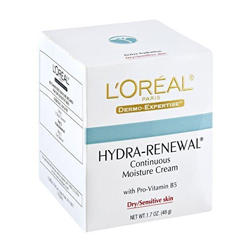 L'Oreal Dermo-Expertise Hydra-Renewal Continuous Moisture Cream Dry/Sensitive Skin 1.70 oz (Pack of (Hydra Renewal Continuous Moisture Cream)