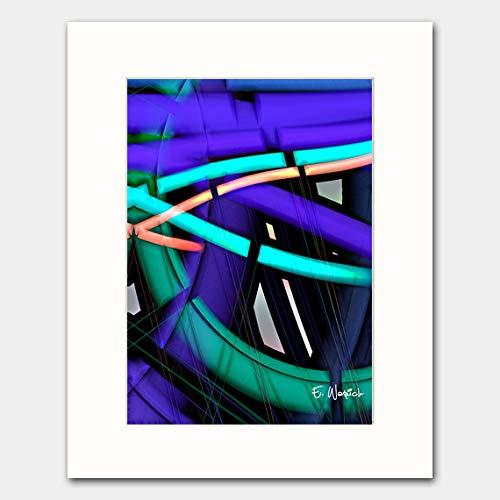 Amazon Com The Neon Lines Abstract Art Print Handmade