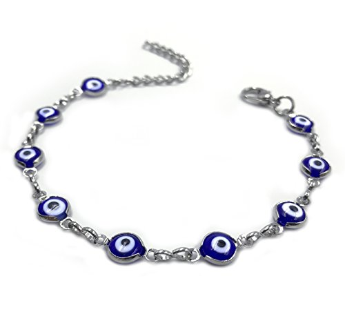 2505 Silver Chain Evil Eye Adjustable Bracelet for Women Kabbalah Protection Jewelry for Good Luck (Baby Bracelet Blue)