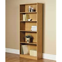 3-Adjustable Shelves | Orion Wide 5-Shelf Bookcase | 2 Fixed Shelves (Oak, 1)