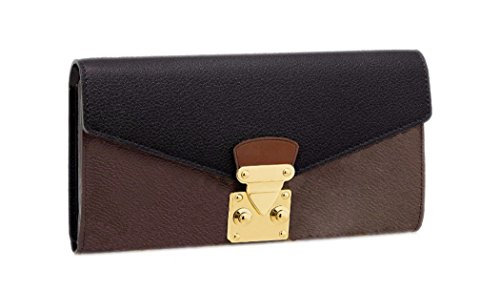 Women Genuine Cow Leather Black And Monogram Canvas Sarah Wallet Long Clutch Purse