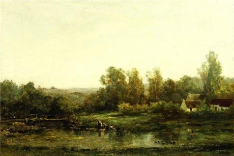 'Charles-Francois Daubigny - The Washerwomen, 1870-74' Oil Painting, 30x45 Inch / 76x114 Cm ,printed On Perfect Effect Canvas ,this Replica Art DecorativeCanvas Prints Is Perfectly Suitalbe For Laundry Room Decor And Home Decoration And Gifts
