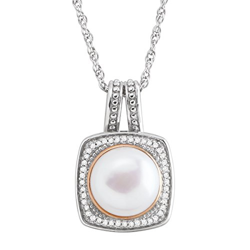 Honora 10 mm Freshwater Cultured Pearl & 1/8 ct Diamond Pendant Necklace in 14K Rose Gold-Plated Sterling Silver (Honora Necklace 14k)