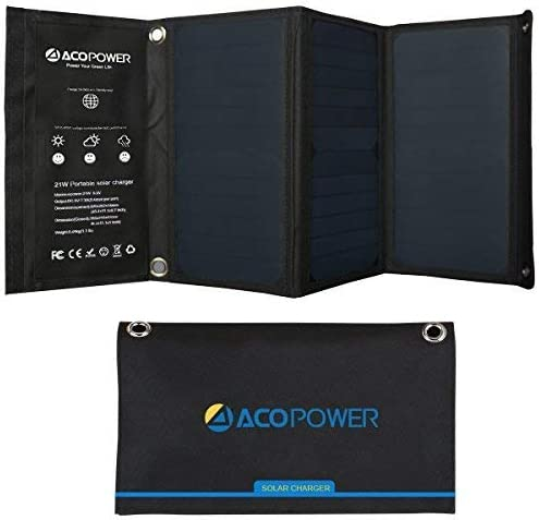ACOPOWER 21W Solar Panel for Phone Charge with Dual USB Outputs Charging iPhones, Phones, ipad, Tablets etc for Backpack Outdoor Camping Portable Suitcase with Three 7W Foldable Solar Panels