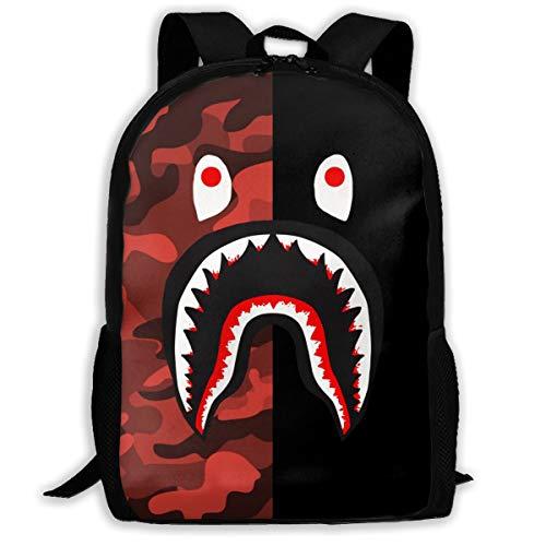 Bape Shark Backpack >> Sunmoonet Bape Blood Shark Half Red Camo Backpack College School Travel Bags Waterproof Shoulder Backpacks For Men Women