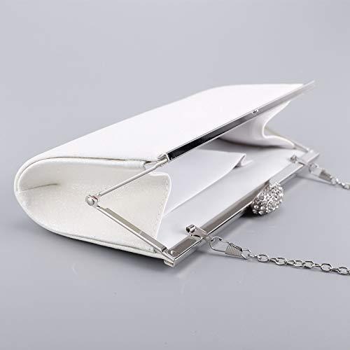 strass avec Blanc à bouton rigide chaînette scintillante ovale minaudière Sac de de Sac soirée poussière main wqxZ6nzTg