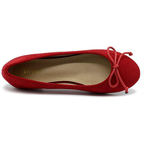 Faux Red Ballet Flat Ribbon Women's Suede Shoe Ollio 4w0qTSPT