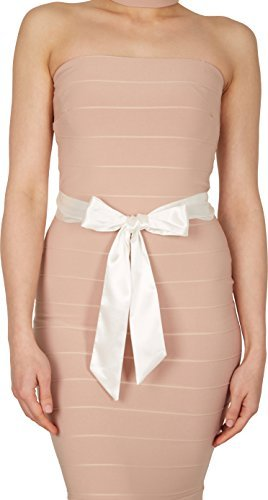 BlackButterfly Bridal Wedding Bridesmaid Satin Sash Belt (Ivory, 5 CM X 175 CM)