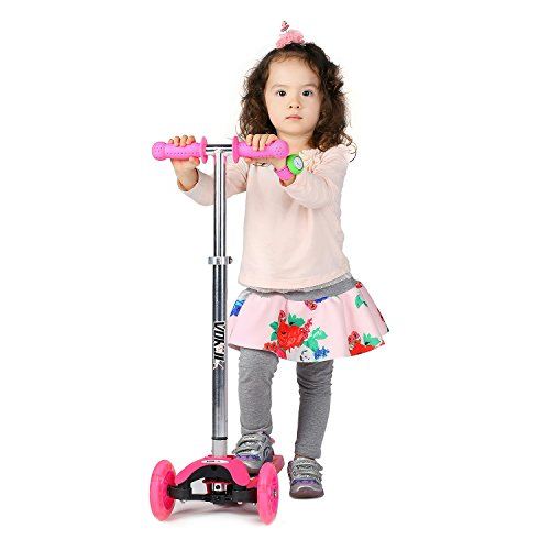 VOKUL 1281F LED light 3 Wheel Mini Kick Scooter with Adjustable Height(Green Material by FDA)-Pink