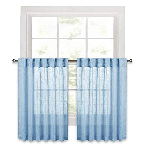 RYB HOME Semi Sheer Linen Textured Wave Pattern Curtains, Half Window Privacy Sheer Drapes for Bedroom/Kids Room Light Filering Voile, Baby Blue, Width 52 in x Length 36 in Each Panel, 2 Pcs
