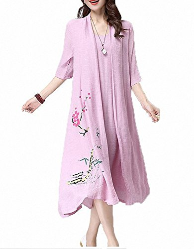 Dress line Shift Linen Chinese Baggy A Lilac Hem Afibi Cotton Retro Style wAzvxv