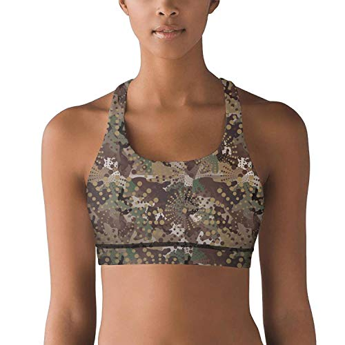 (Gustaix Zimund Women's Racerback Sport Bra us Military Diamond camo Bra for Yoga Gym Running Fitness)