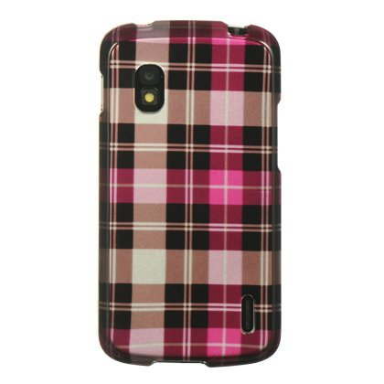 Dream Wireless CALGE960HPCK Slim and Stylish Design Case for LG Google Nexus 4/E960 - Retail Packaging - Hot Pink Checker